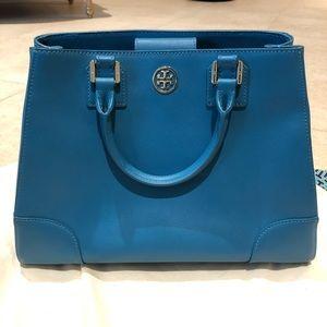 Tory Burch Robinson Triangle Tote Blue Bag